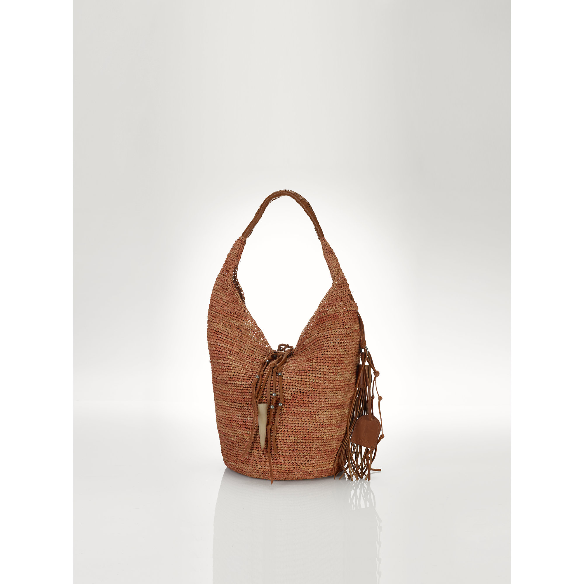 Lyst - Polo Ralph Lauren Straw Sling Bag in Brown 79bab15c04