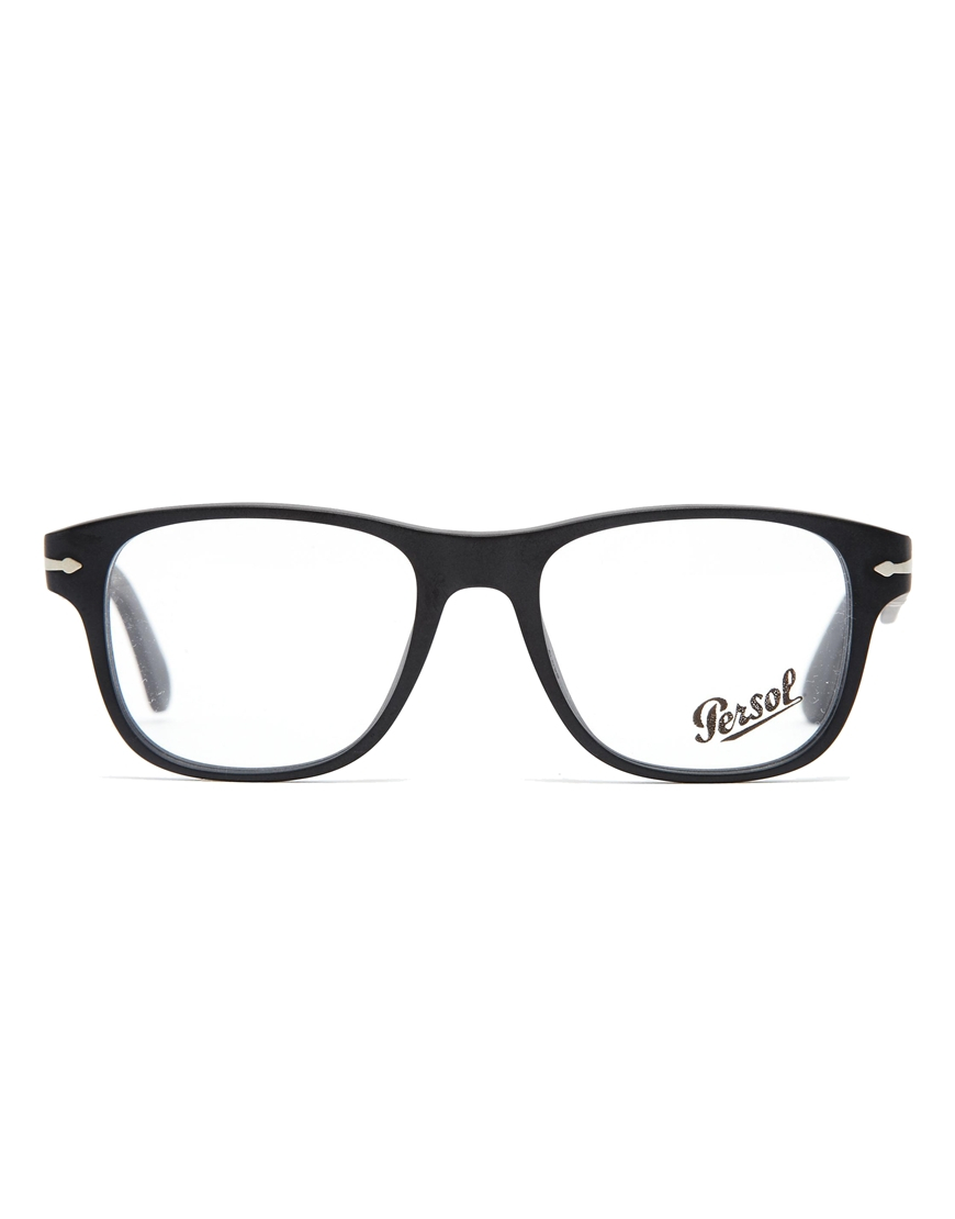 black wayfarer glasses  Persol Wayfarer Glasses in Black for Men