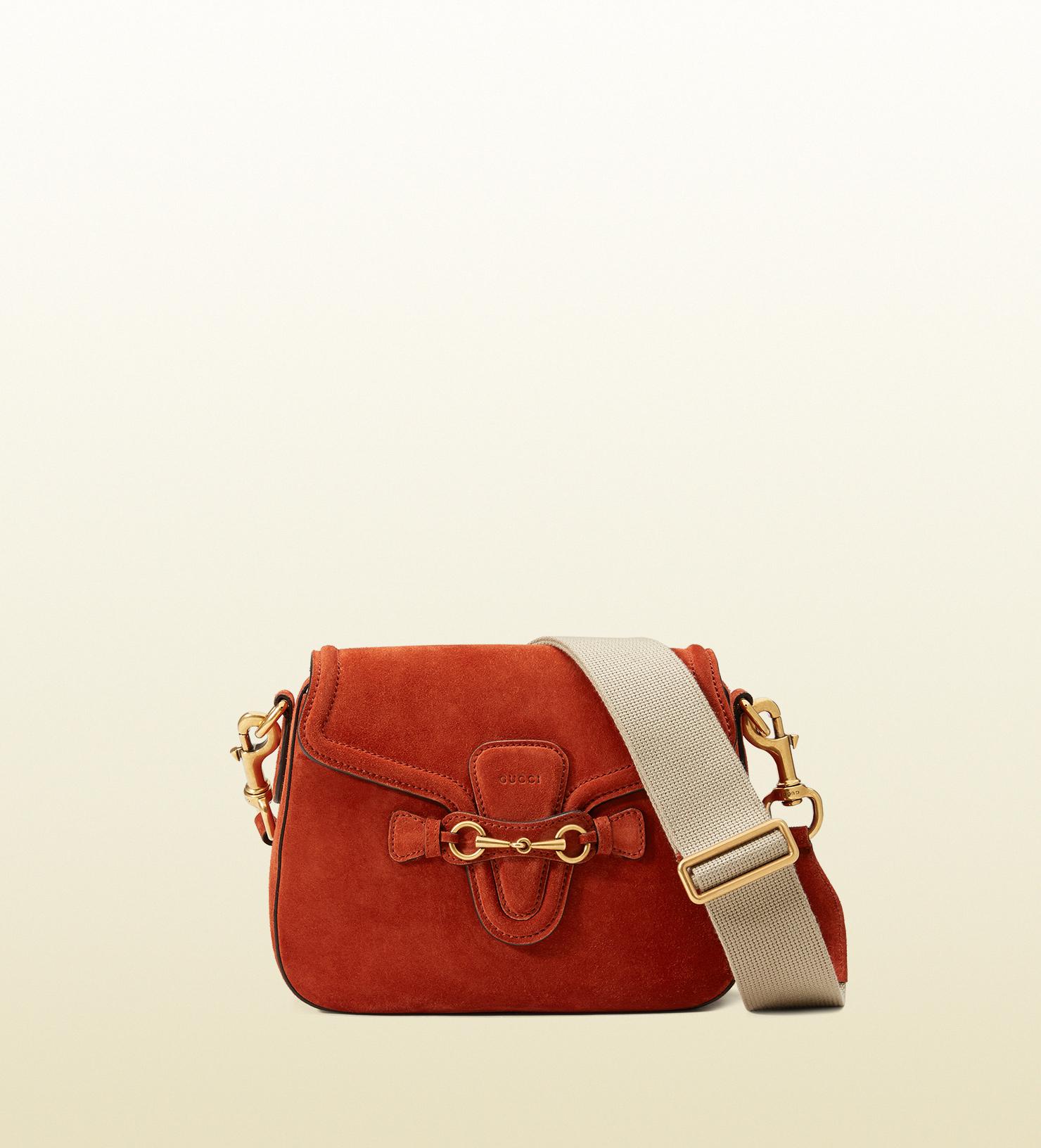 8e09de6cf15 Lyst - Gucci Lady Web Suede Shoulder Bag in Red