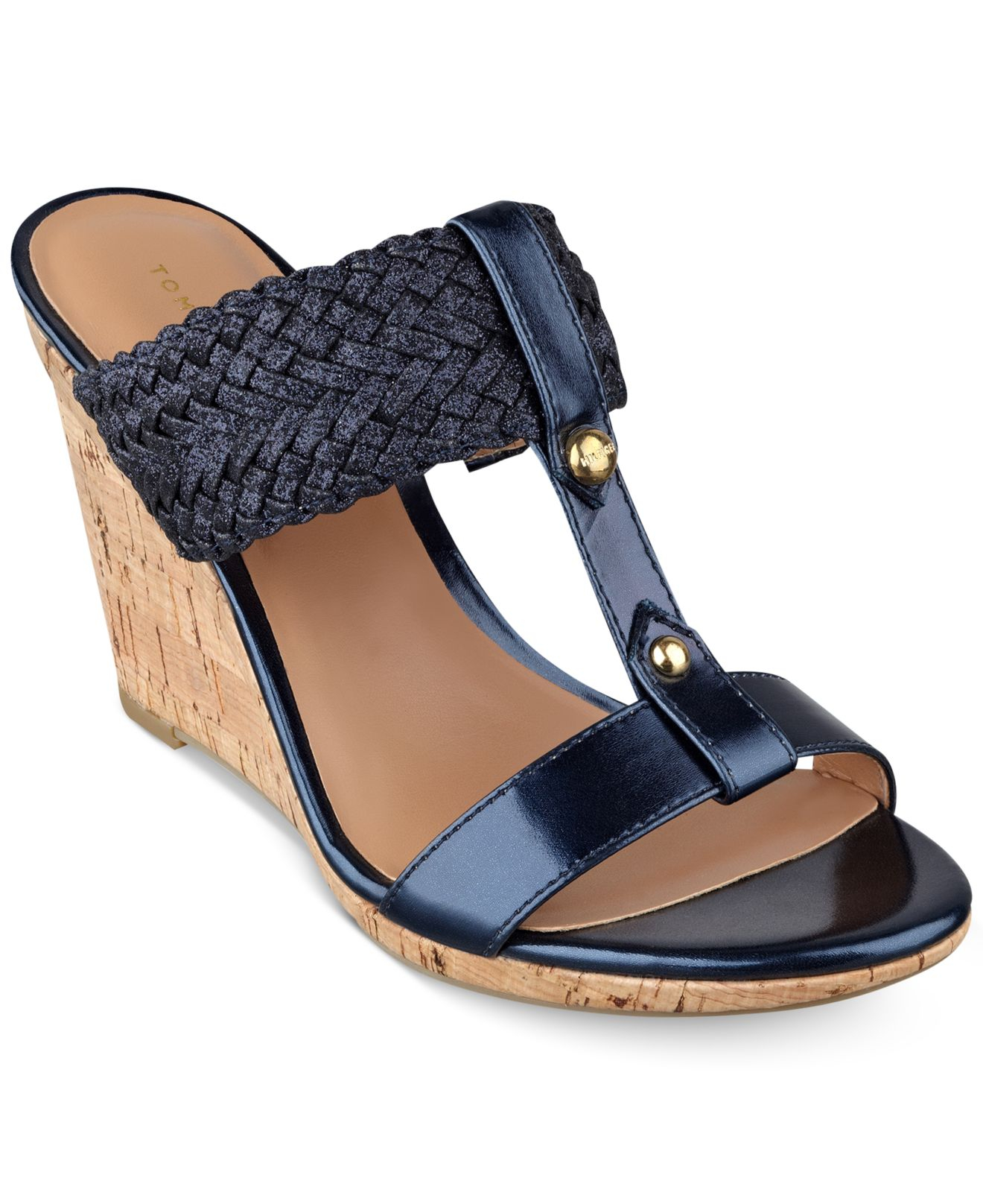 tommy hilfiger women 39 s eleona wedge sandals in blue lyst. Black Bedroom Furniture Sets. Home Design Ideas