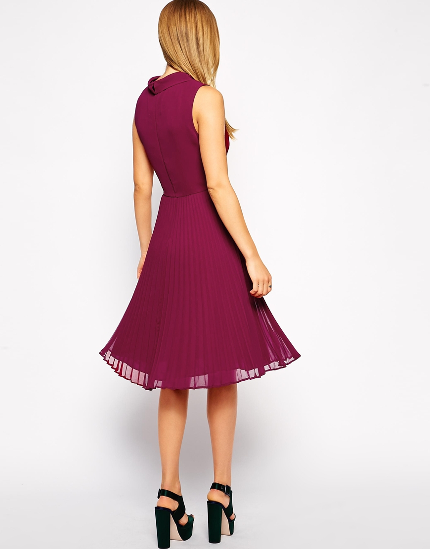 asos midi dress with pleated skirt and high neck in purple