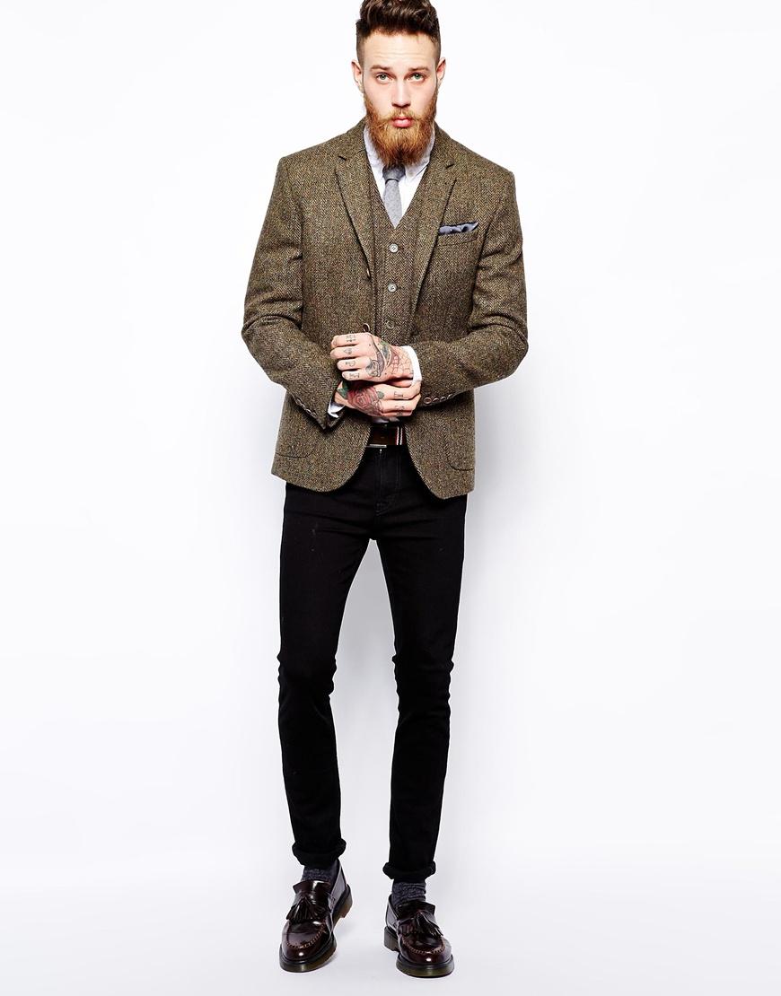 asos slim fit blazer in harris tweed in natural for men lyst. Black Bedroom Furniture Sets. Home Design Ideas