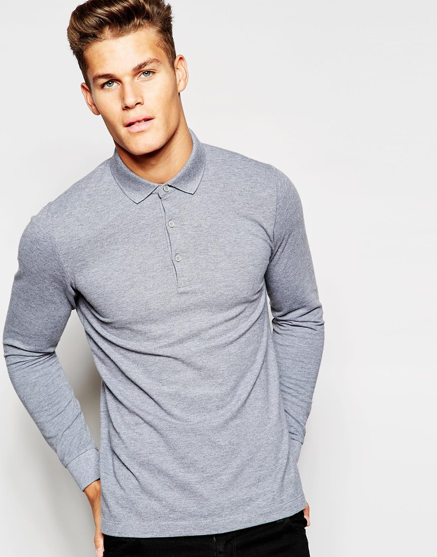 Esprit long sleeve polo shirt in light gray in blue for Man in polo shirt