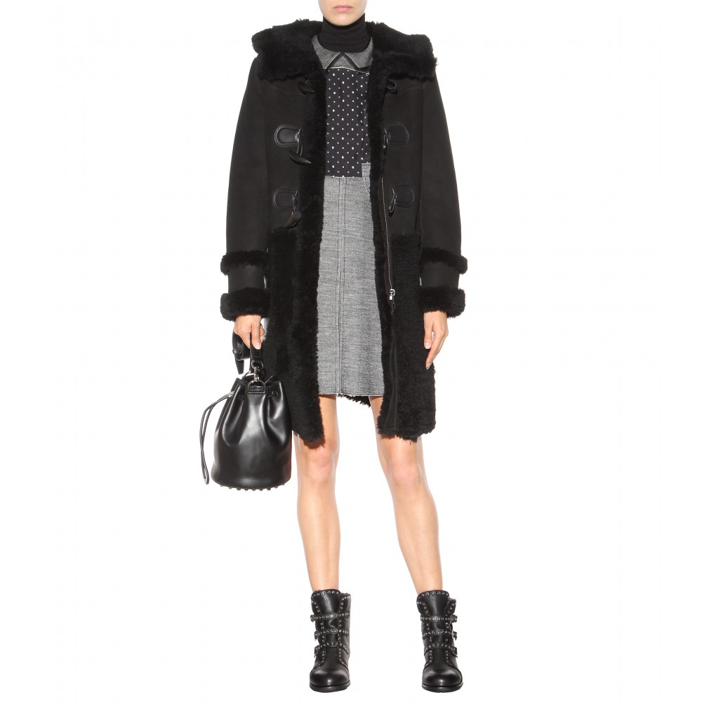 Coach Sheepskin Duffle Coat in Black | Lyst