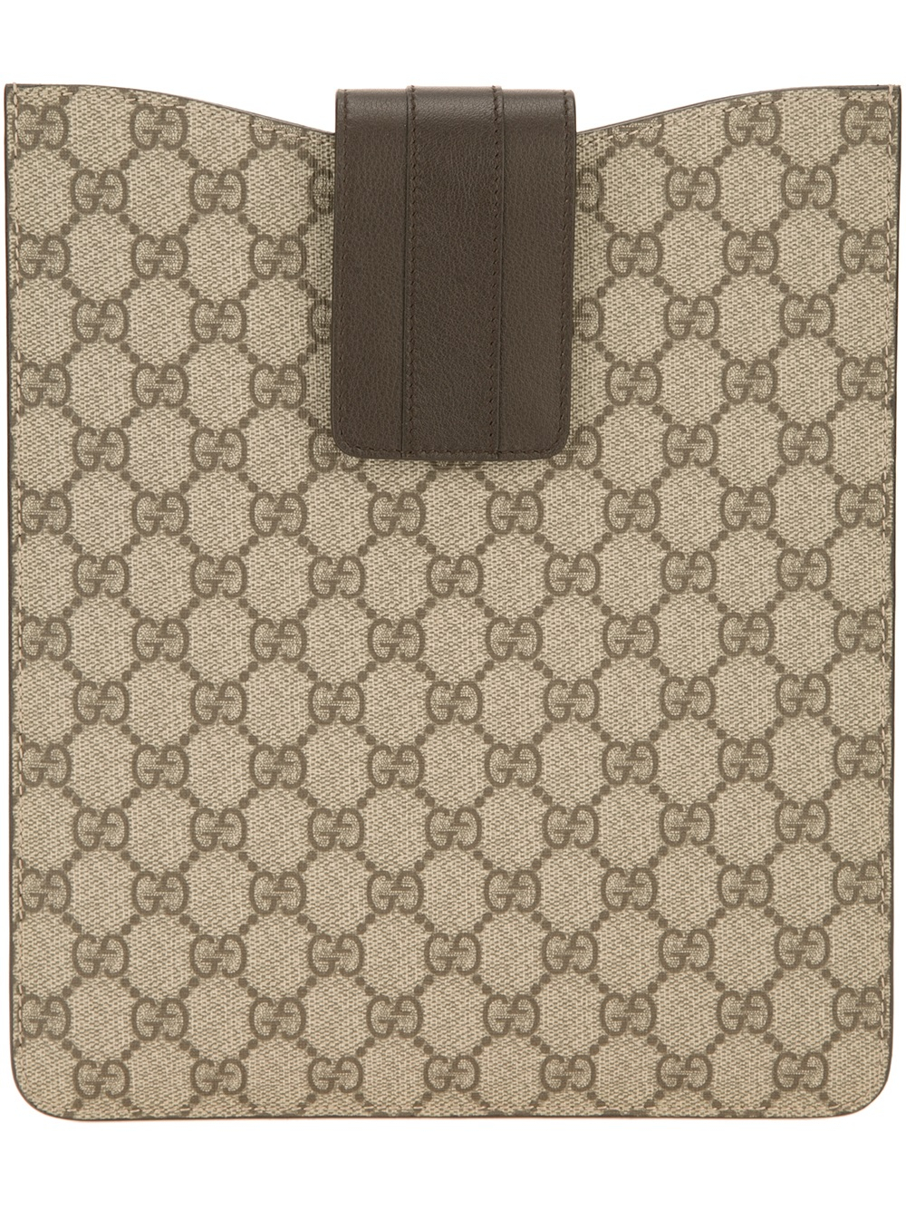 gucci monogram print ipad case in brown for men