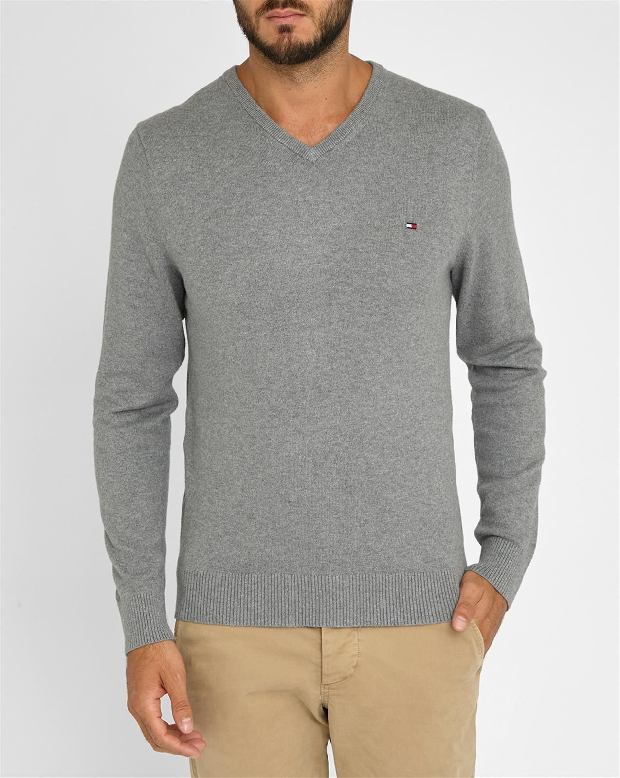 Tommy hilfiger Grey Cotton, Wool And Cashmere V-neck Sweater in Gray ...