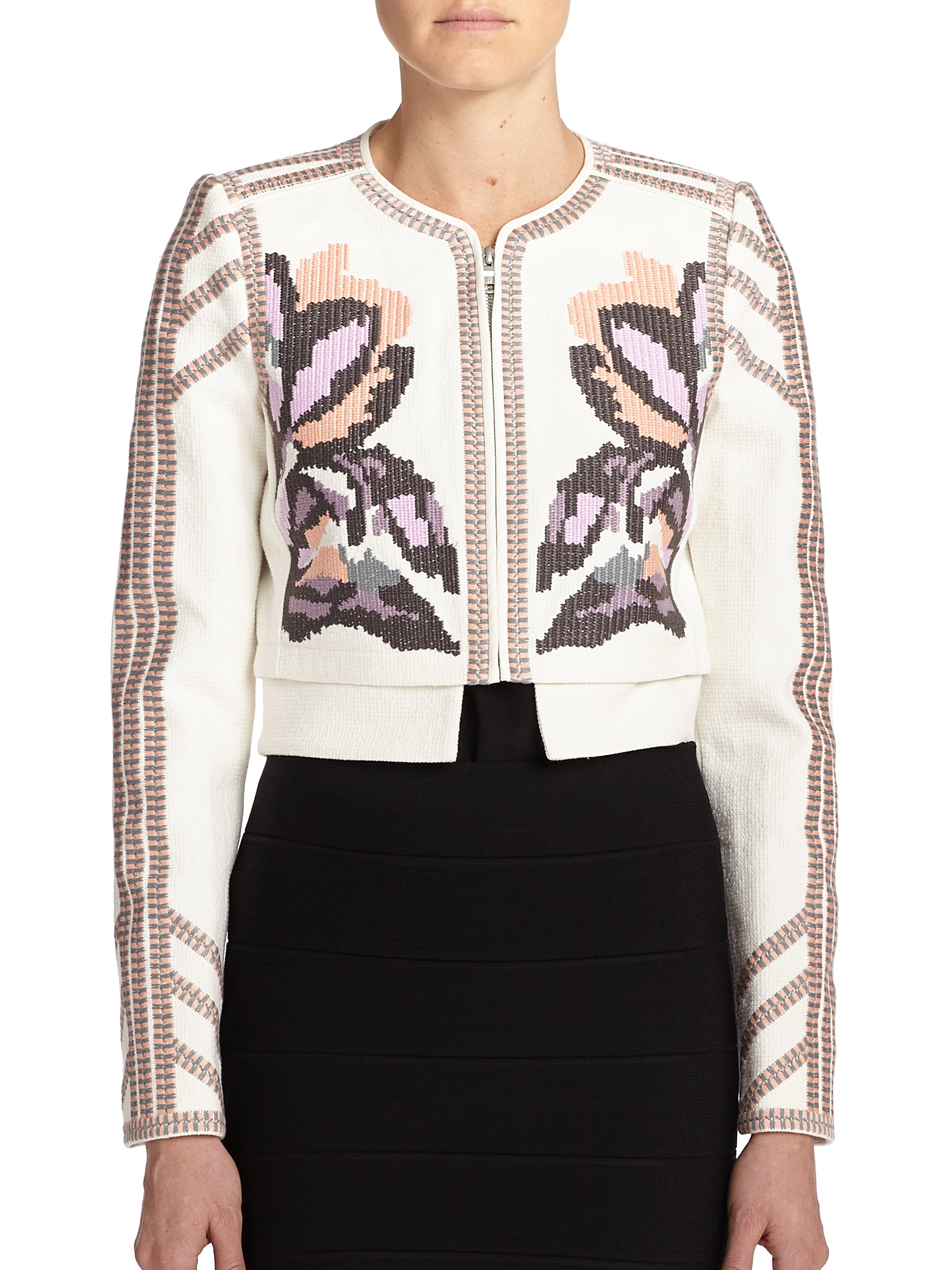 87651bee3e49a Lyst - BCBGMAXAZRIA Duke Embroidered Jacket in White