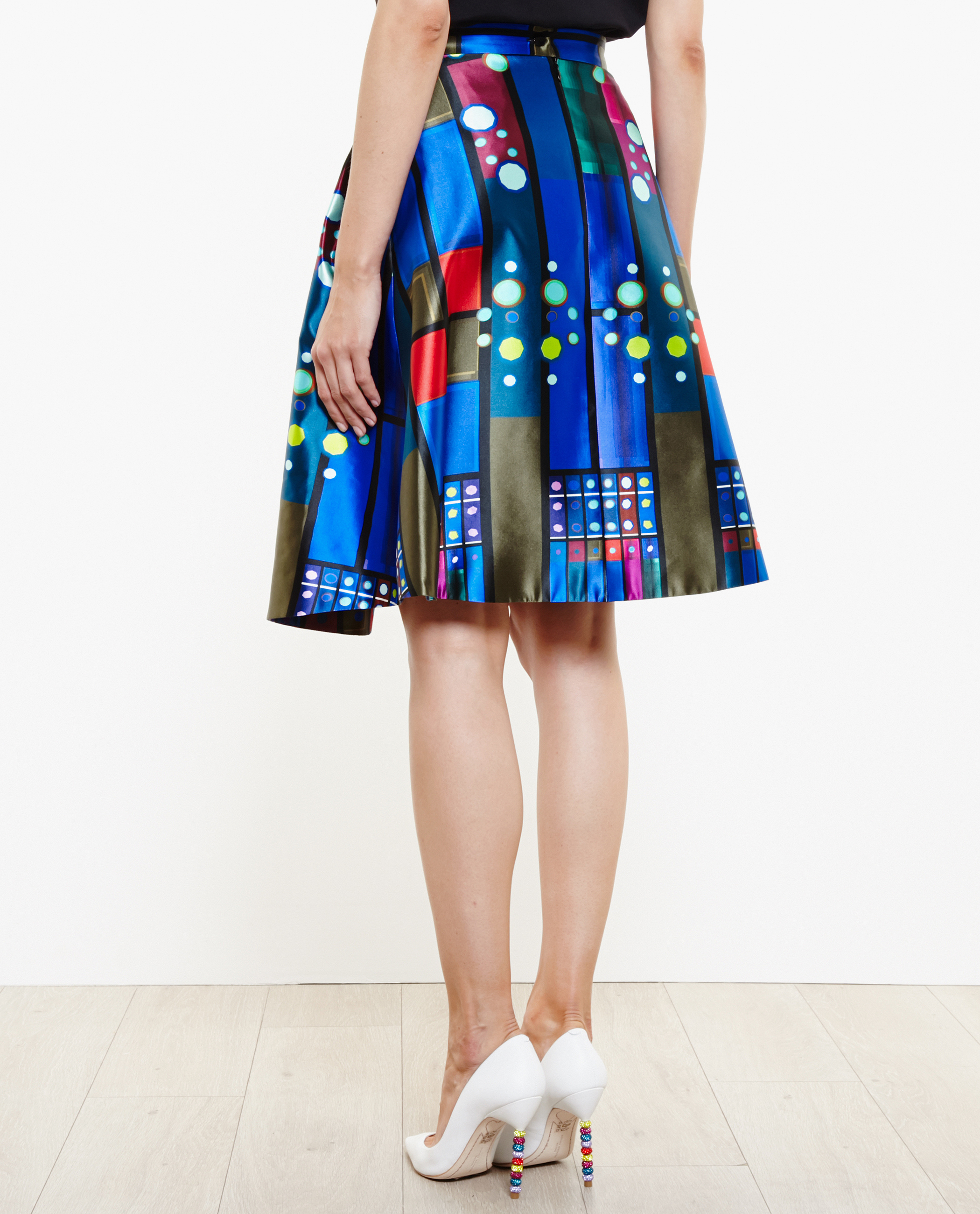 Peter pilotto Printed A-Line Mikado Silk Skirt in Blue | Lyst