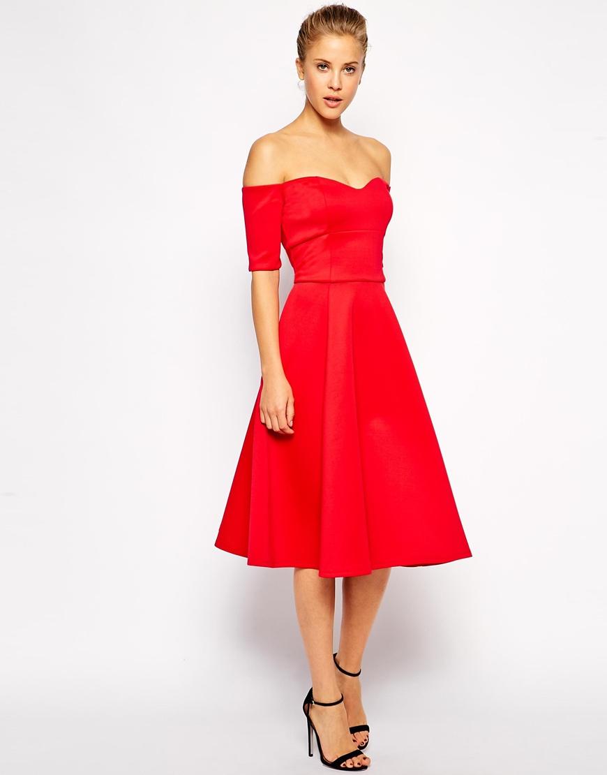 Lyst - ASOS Debutante Bardot Scuba Midi Dress in Red d56fe4e7b