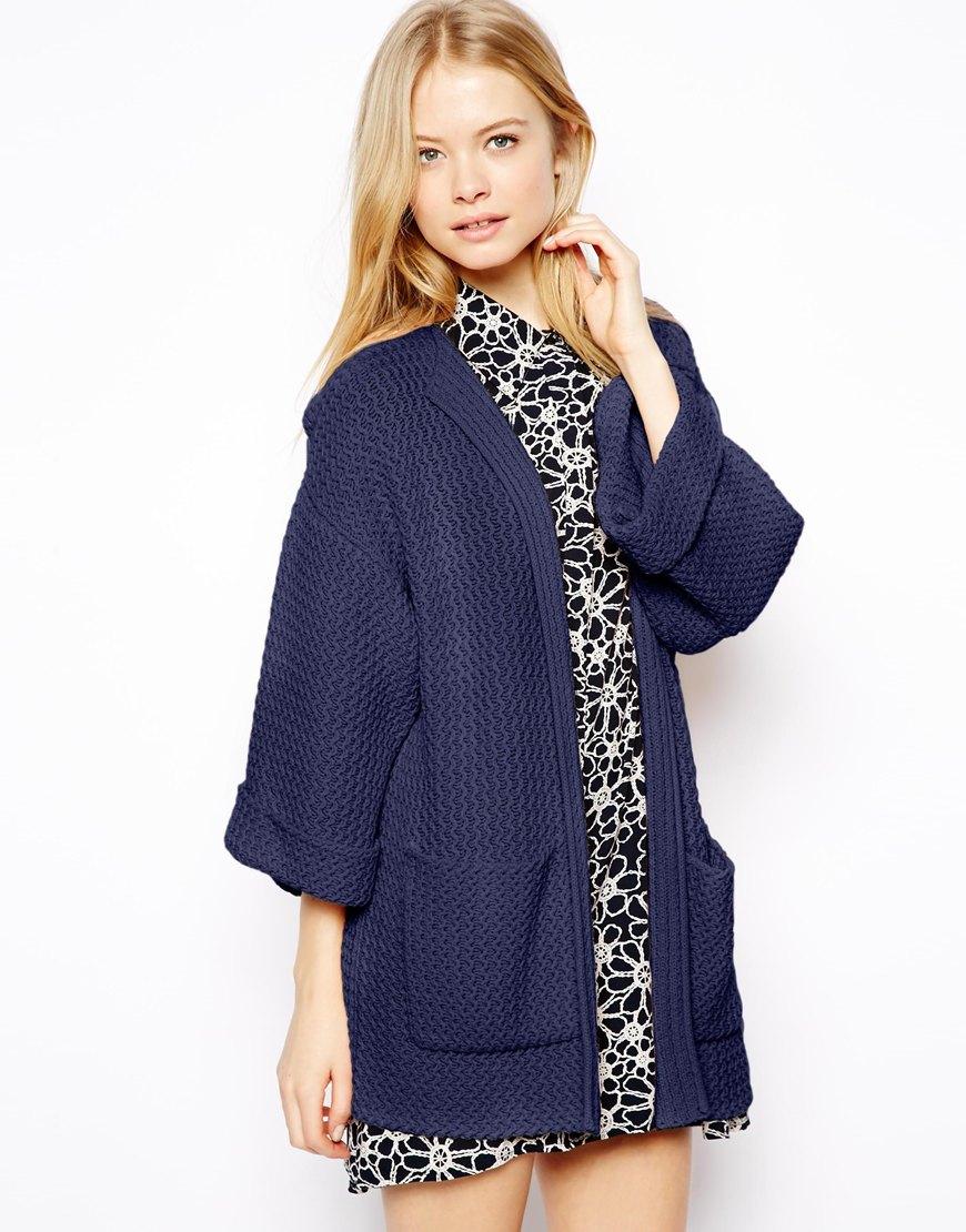 Asos Kimono Sleeve Cardigan in Blue | Lyst