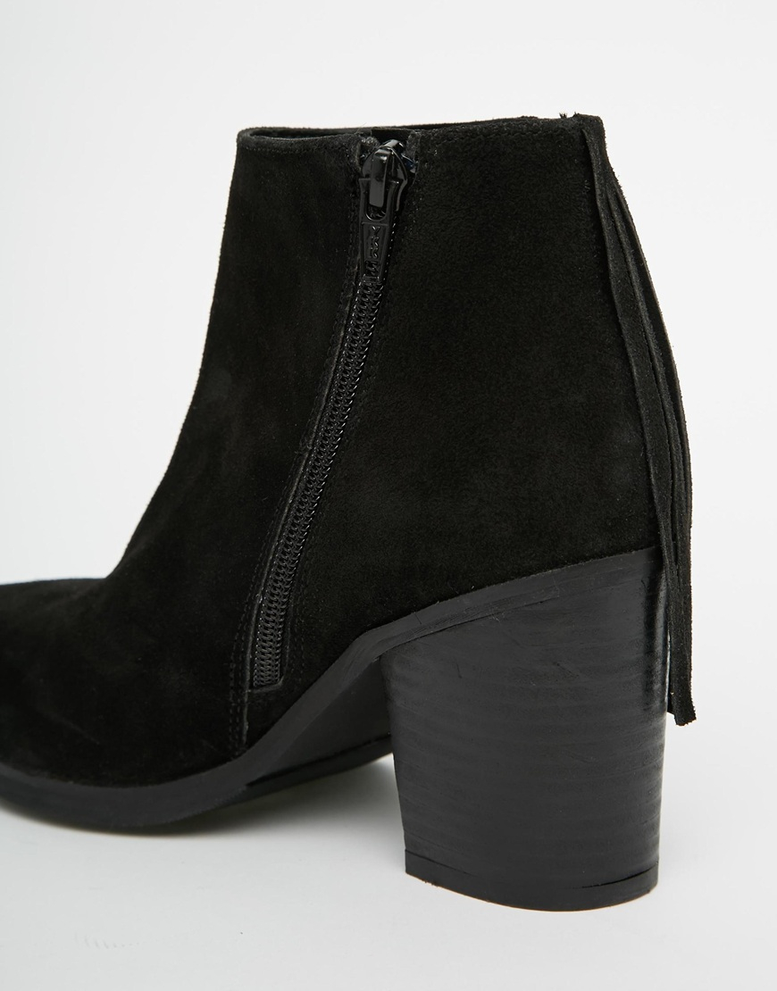Asos Riley Suede Western Fringe Ankle Boots in Black | Lyst