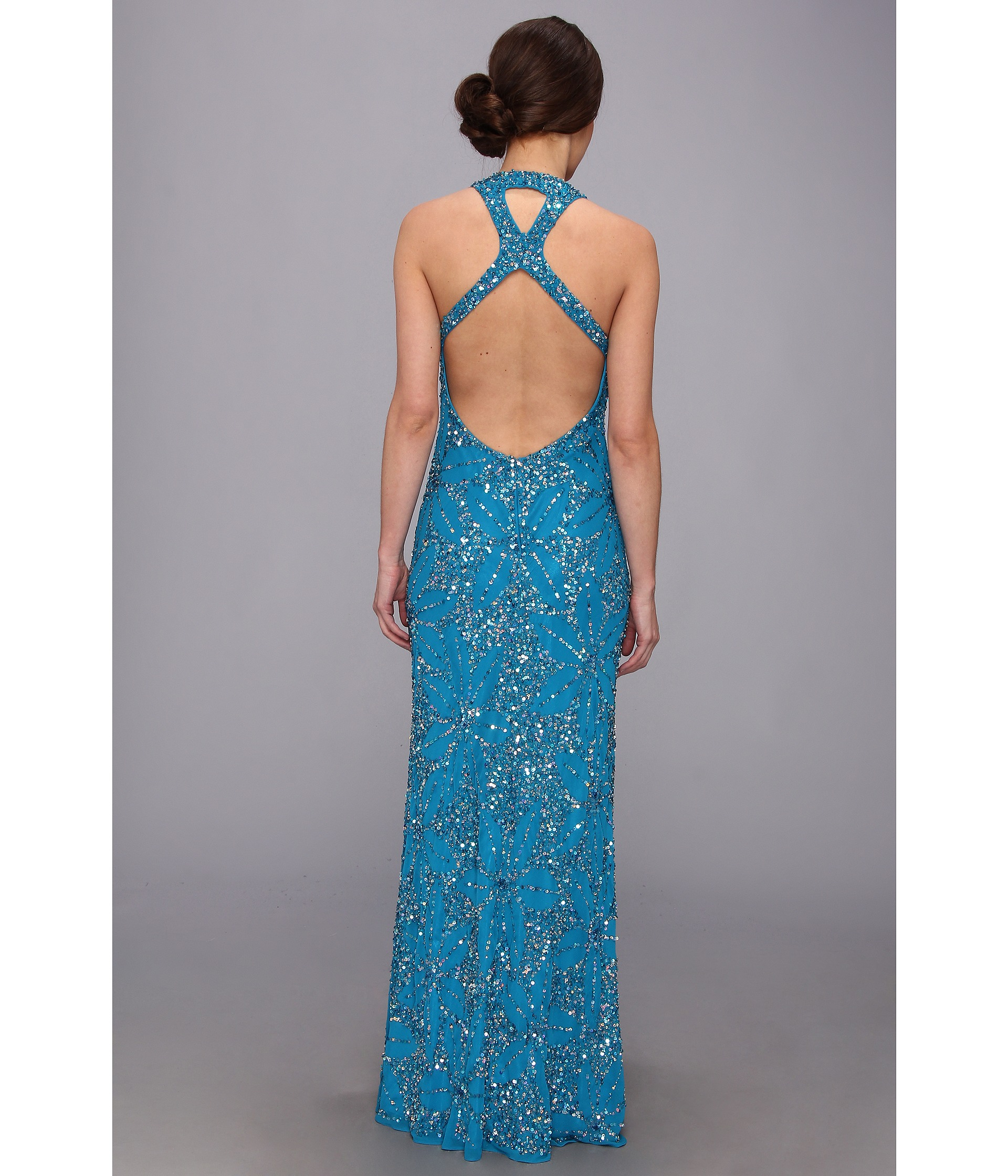 Lyst - Adrianna Papell Dream Girls Bead Prom Gown in Blue