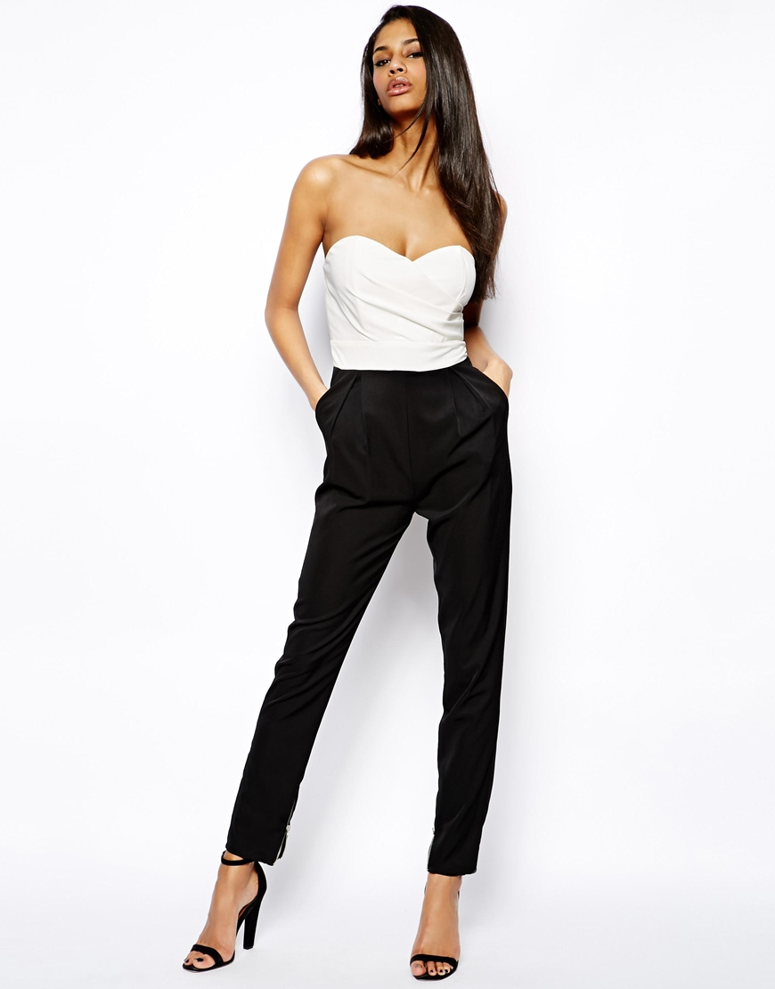 79d9400f1ae0 Lyst - TFNC London Jumpsuit with Plunge Bustier in Black