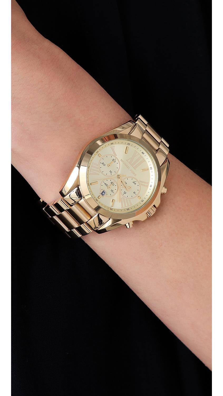 Michael Kors Bradshaw Gold Chronograph Watch In Metallic