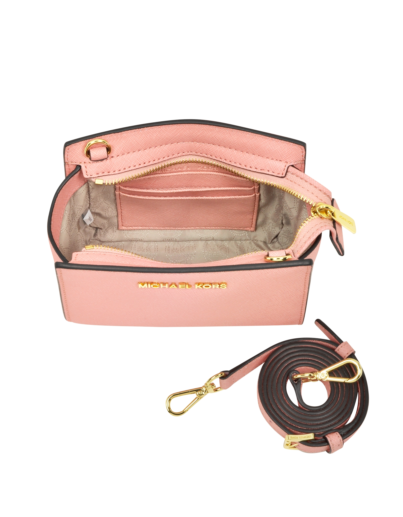 2b4dc541e71150 Michael Kors Selma Saffiano Leather Mini Messenger in Pink - Lyst