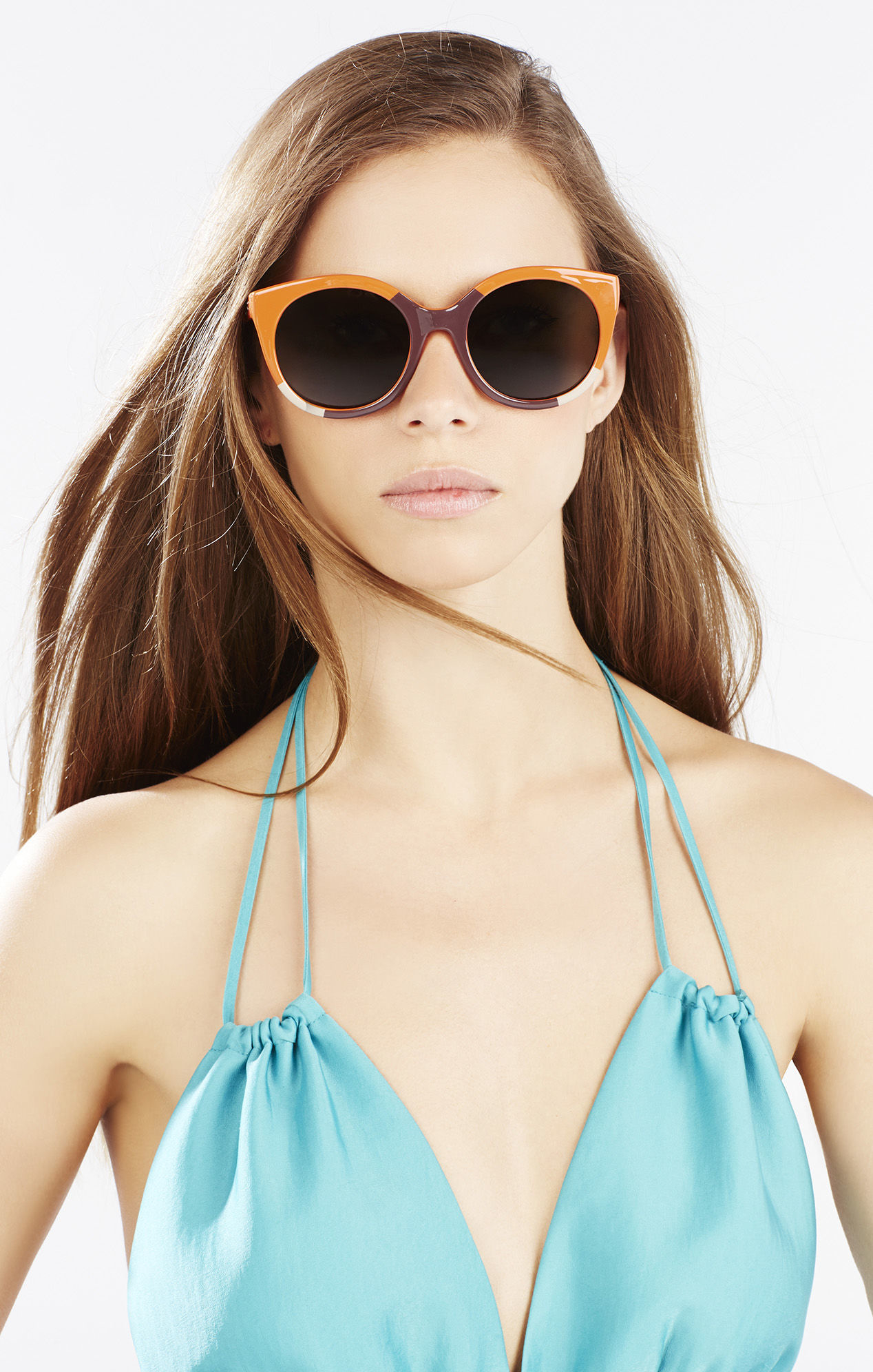 Bcbg Sunglasses  bcbgmaxazria color blocked round sunglasses in orange lyst