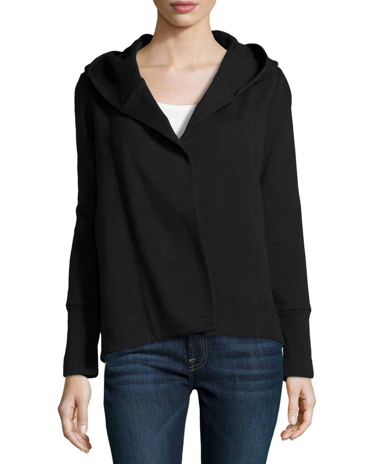 James perse Cotton-Blend Hooded Open Cardigan in Black | Lyst
