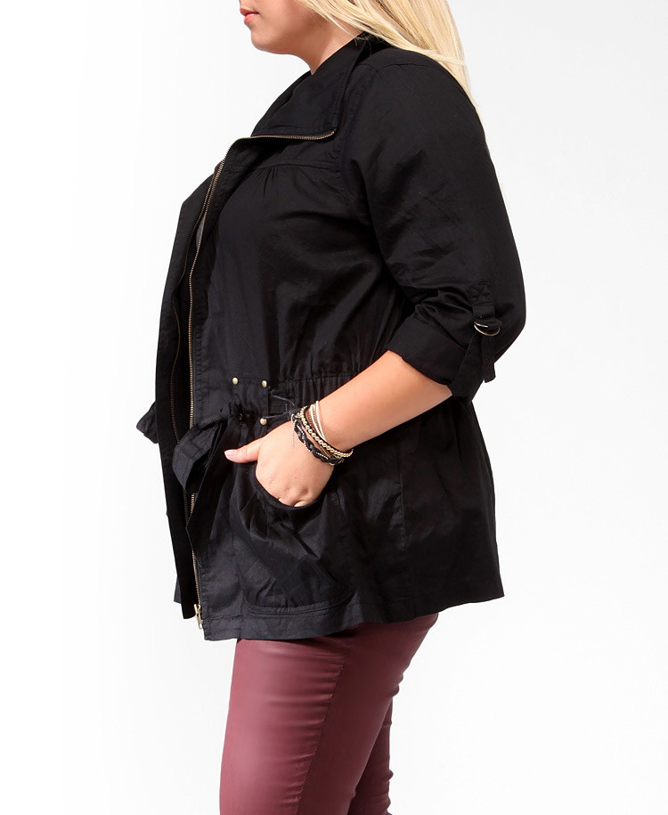 7fe7b41aab584 Lyst - Forever 21 Plus Size Buckle Tab Utility Jacket in Black