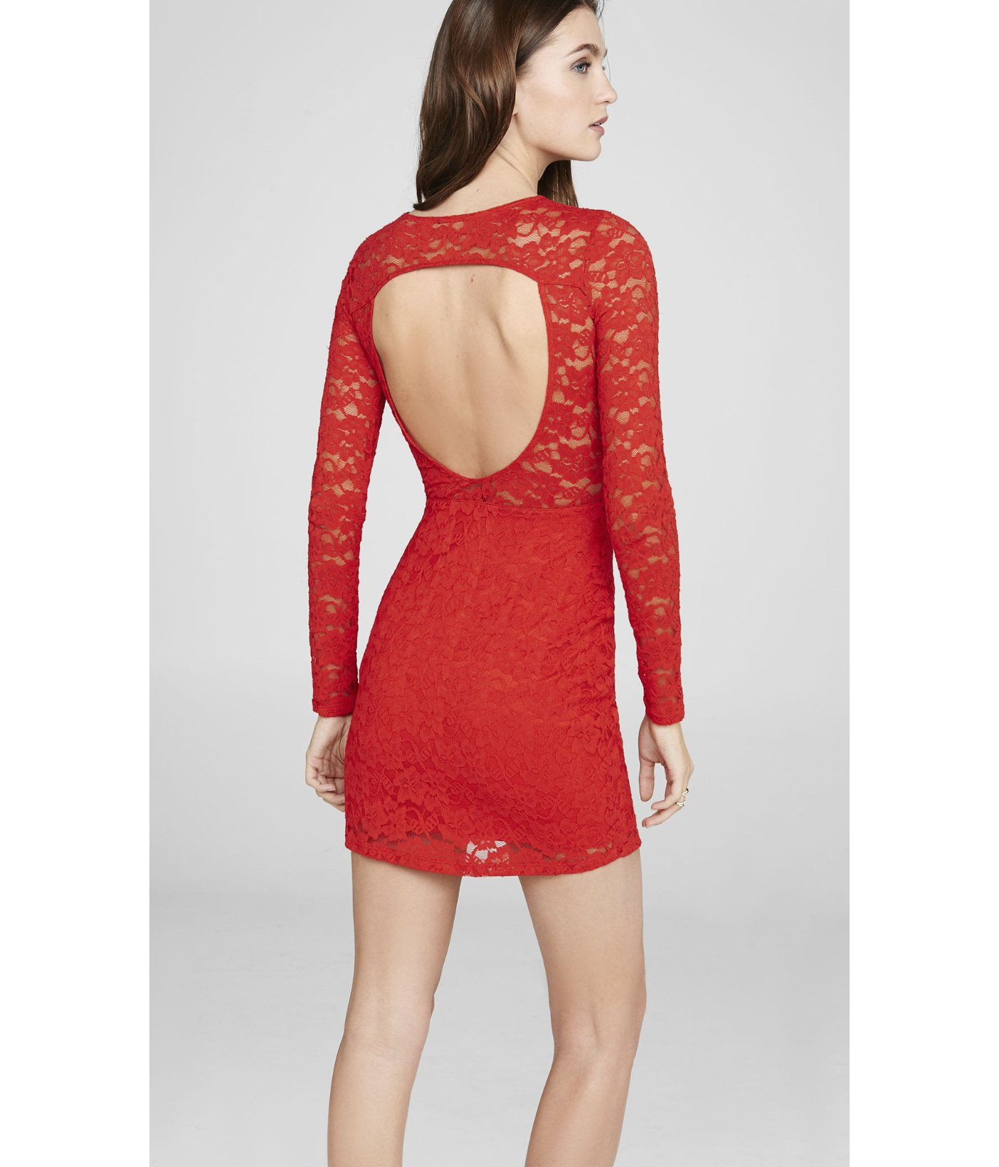 Express Red Lace Open Back Dress in Red | Lyst