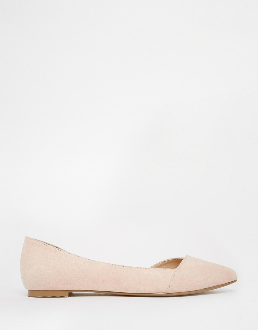 67c57cf3a5b Lyst - ASOS Look Back Wide Fit Pointed Ballet Flats in Natural