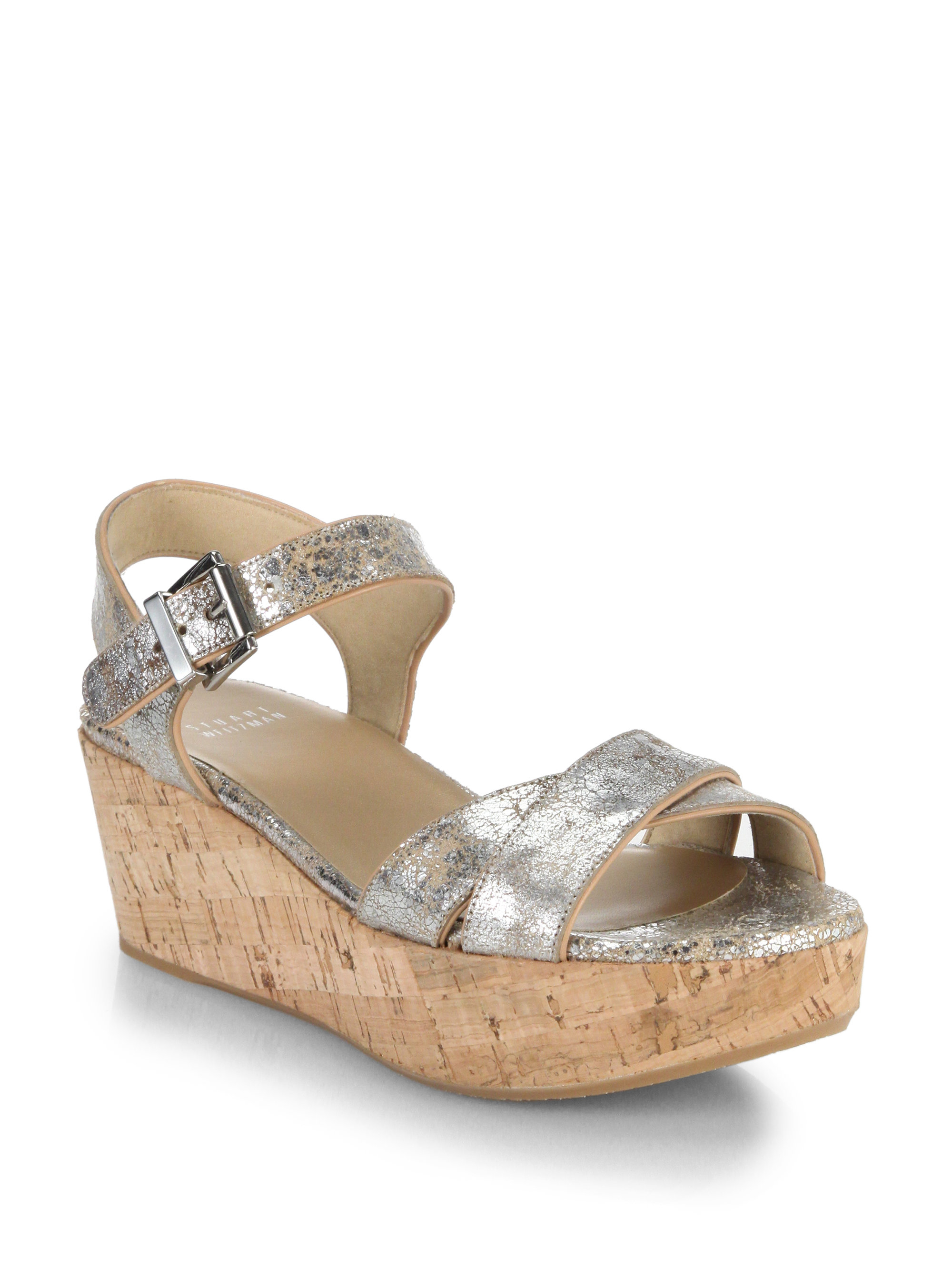 Stuart Weitzman Embossed Buckle Wedges
