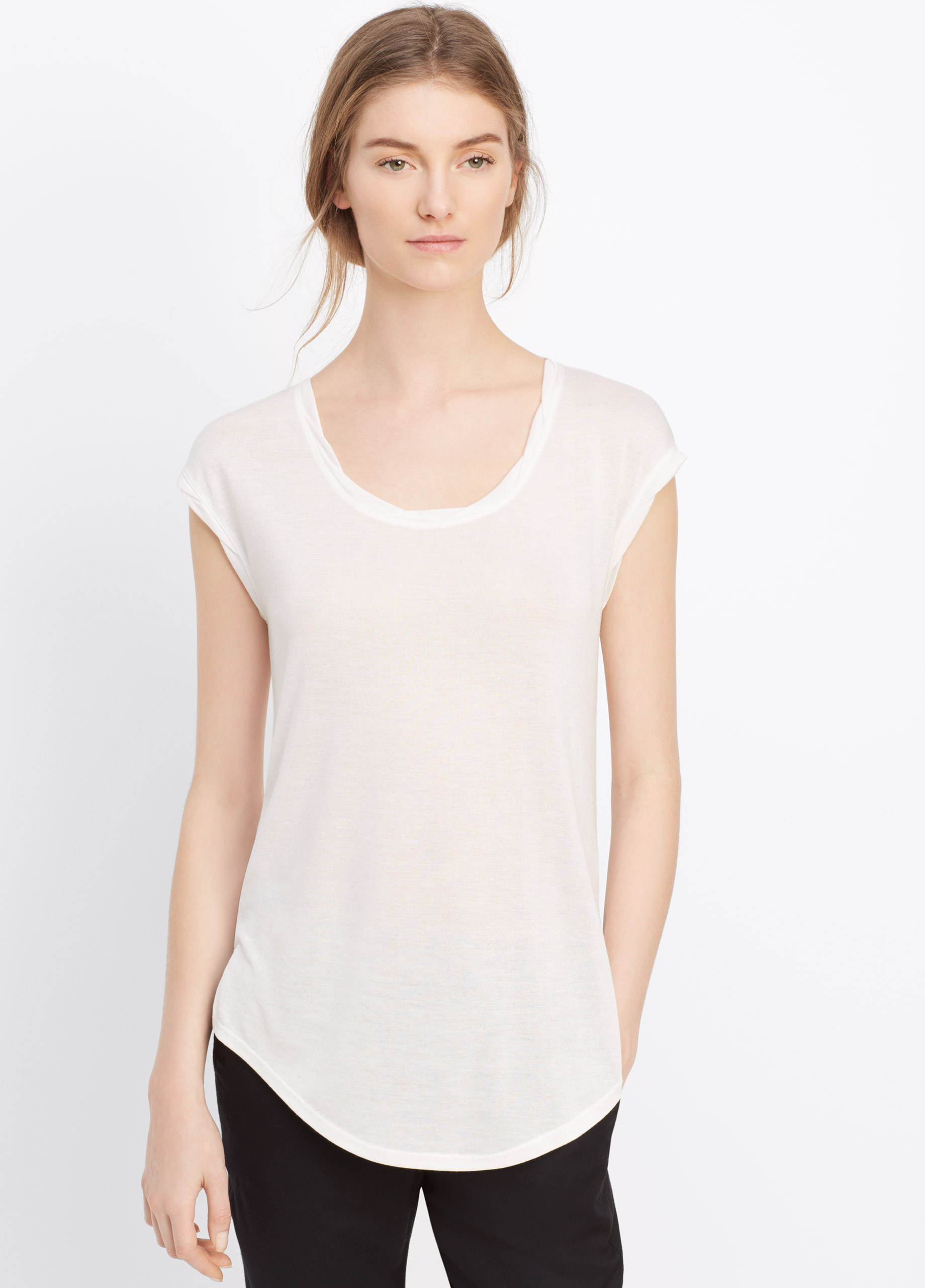 Vince twisted neck cap sleeve mouline tee in white off for Vince tee shirts sale