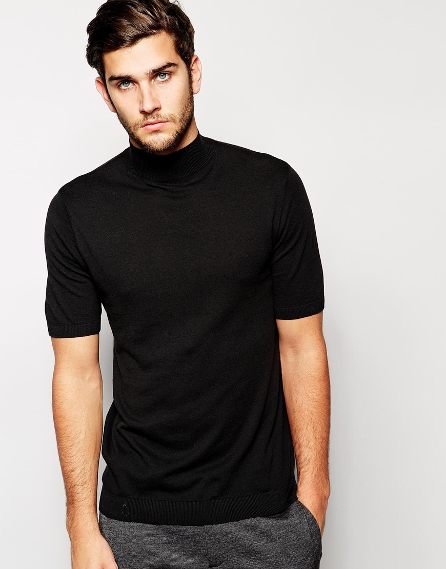 Asos knitted t shirt with turtleneck in black for men lyst for Turtleneck under t shirt