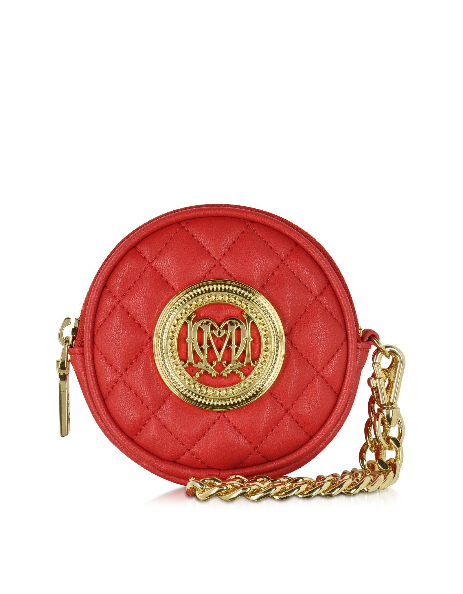 df91e6abf7 Love Moschino Red Quilted Eco Leather Round Clutch in Red - Lyst