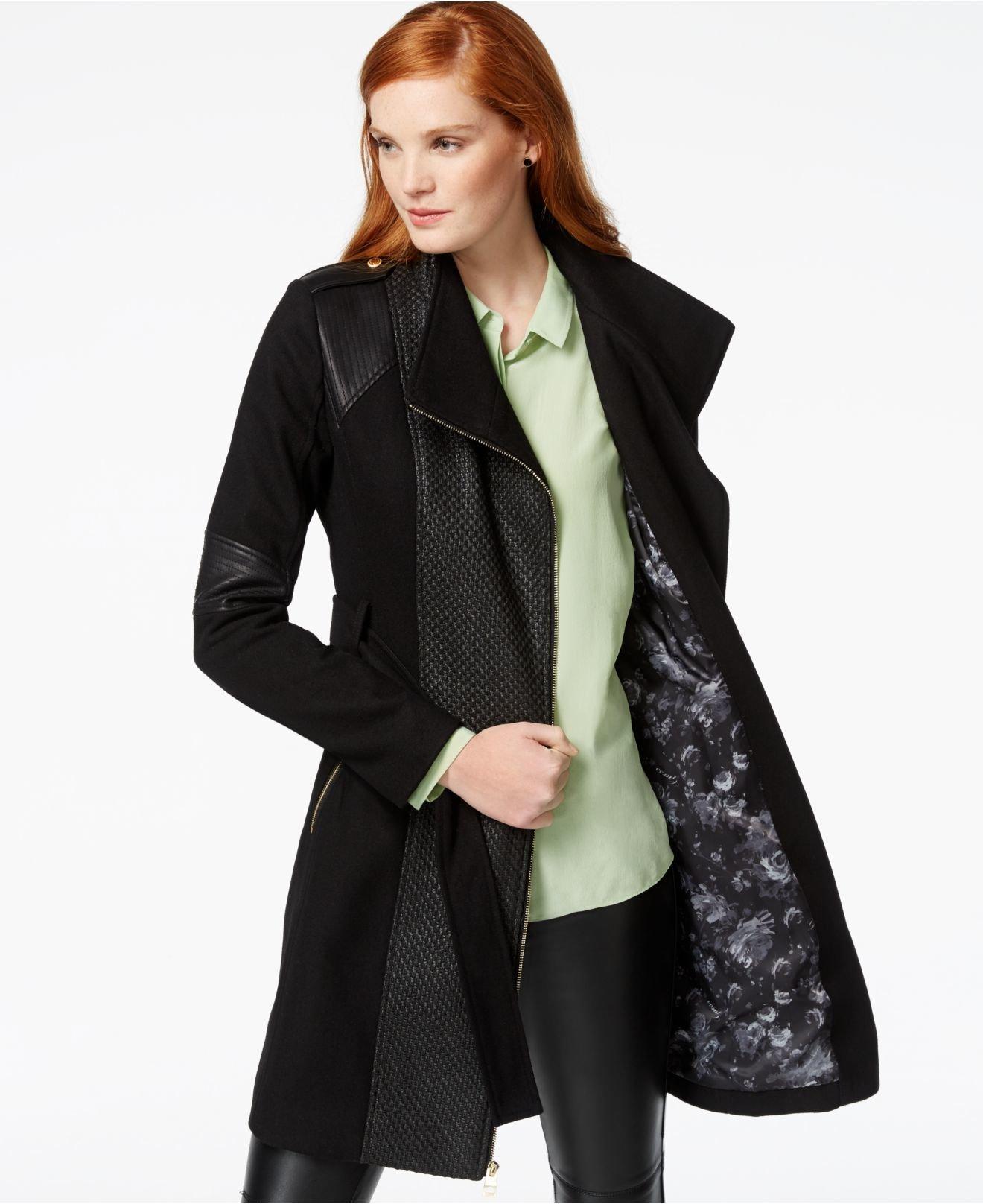 Lyst Guess Mixed Media Asymmetrical Zip Coat In Black