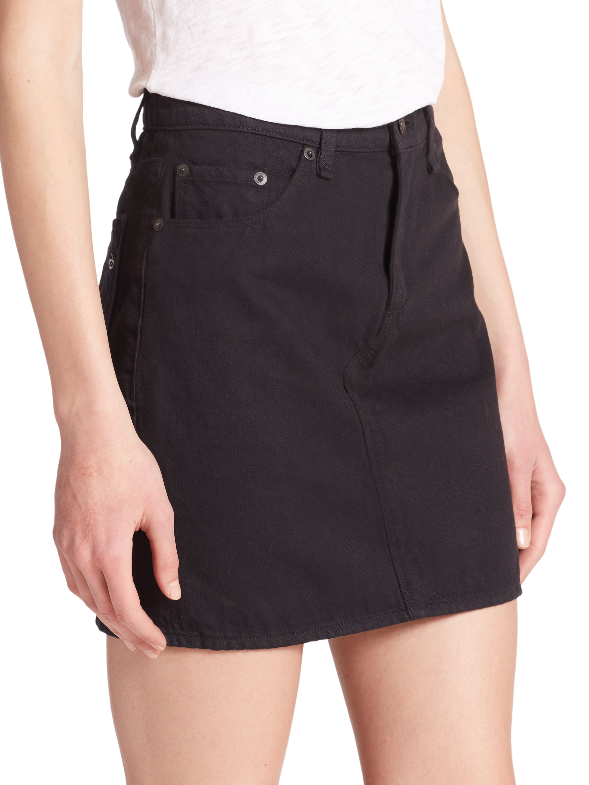 Rag & bone The Denim Mini Skirt in Black | Lyst