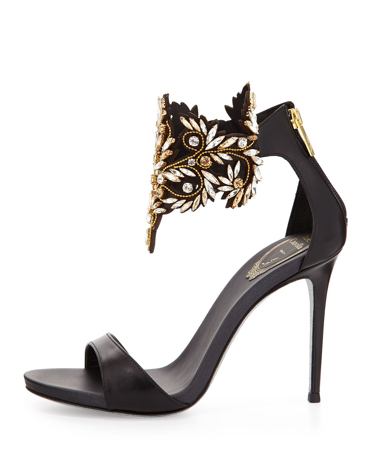 rene caovilla embellished ankle cuff sandals in black lyst