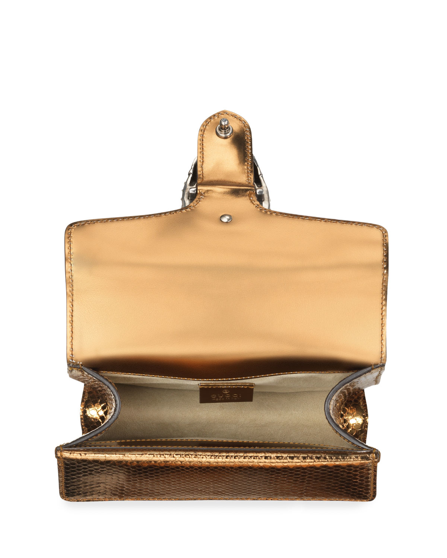 8dab13e3b1a4 Lyst - Gucci Dionysus Chain Mini Python Evening Bag in Metallic