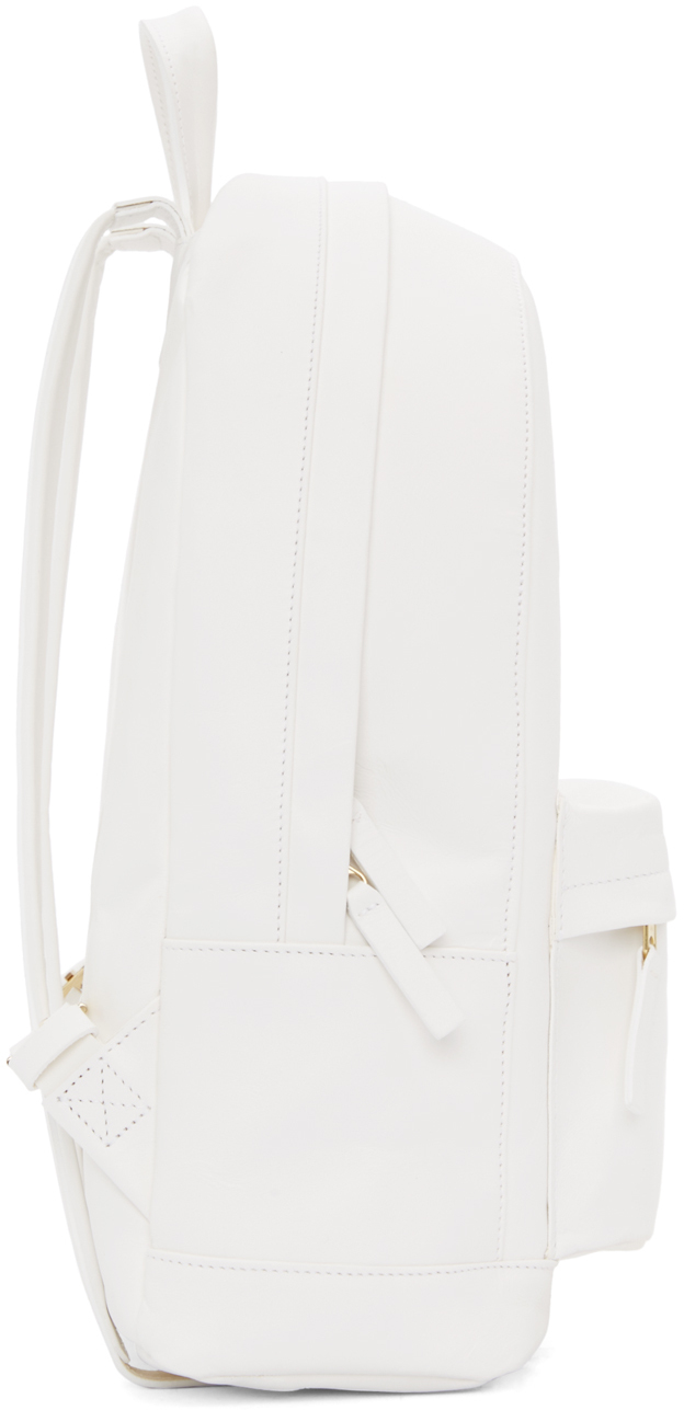 Pb 0110 Matte White Small Leather Backpack in White | Lyst