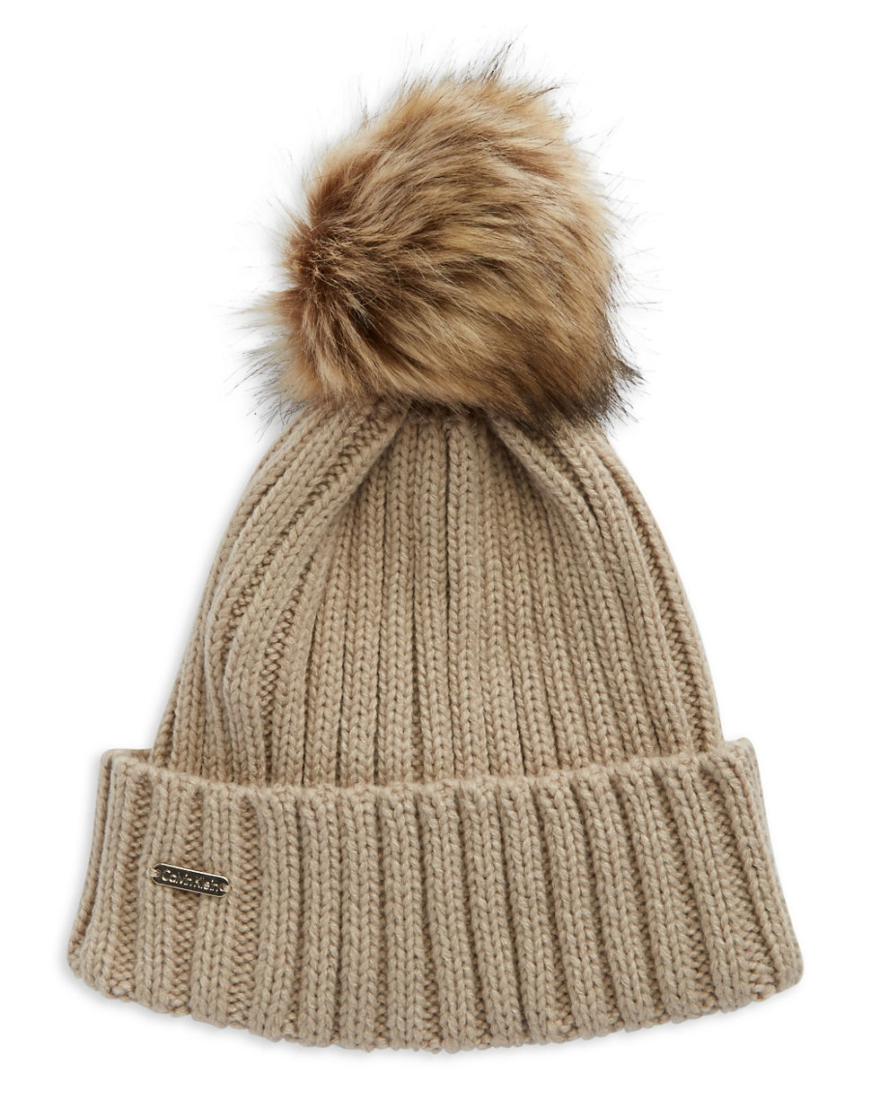 71794ba5a57 Calvin Klein Ribbed Knit Faux-fur Pompom Beanie in Natural - Lyst