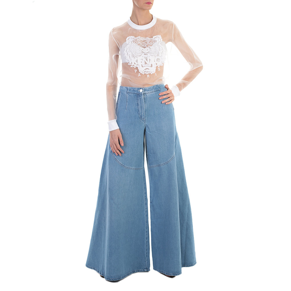 cf7a32ec Lyst - KENZO Light Blue Denin Flared Jeans in Blue