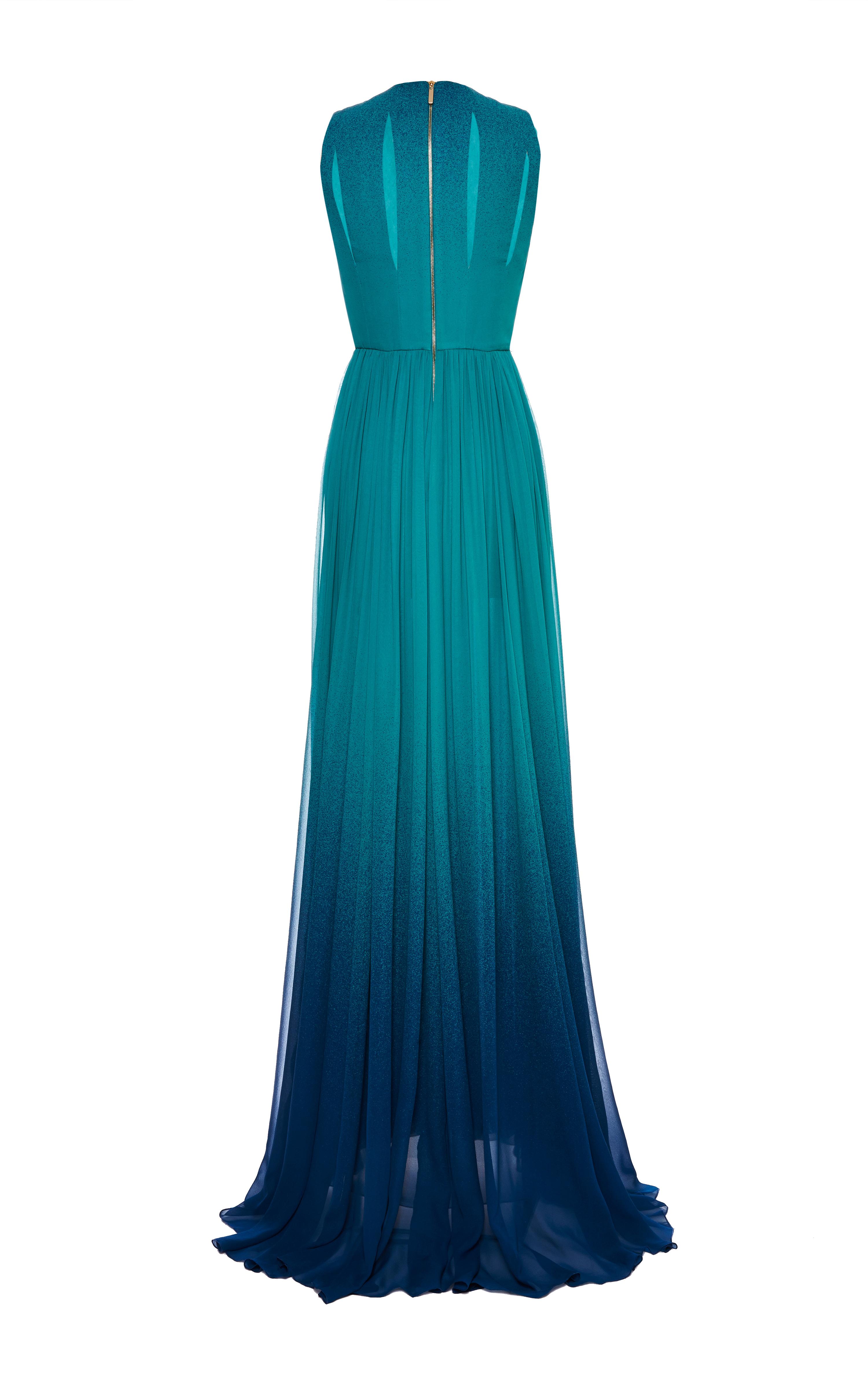 Lyst - Elie Saab Turquoise Degrade Silk Georgette Dress in Blue