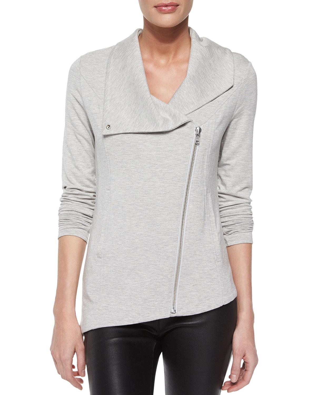 Lyst helmut lang villous sweatshirt jacket in gray - Sweatshirt kleid lang ...