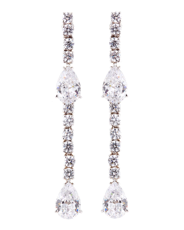 Fantasia CZ Round and Pear-Cut Linear Earrings hJyAmuBzW