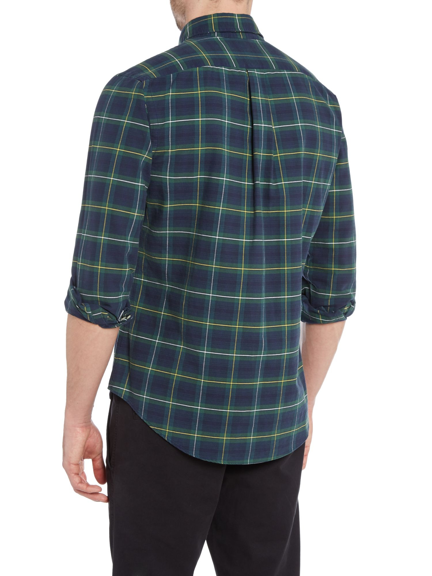 lyst polo ralph lauren long sleeve custom fit tartan check shirt in green for men. Black Bedroom Furniture Sets. Home Design Ideas