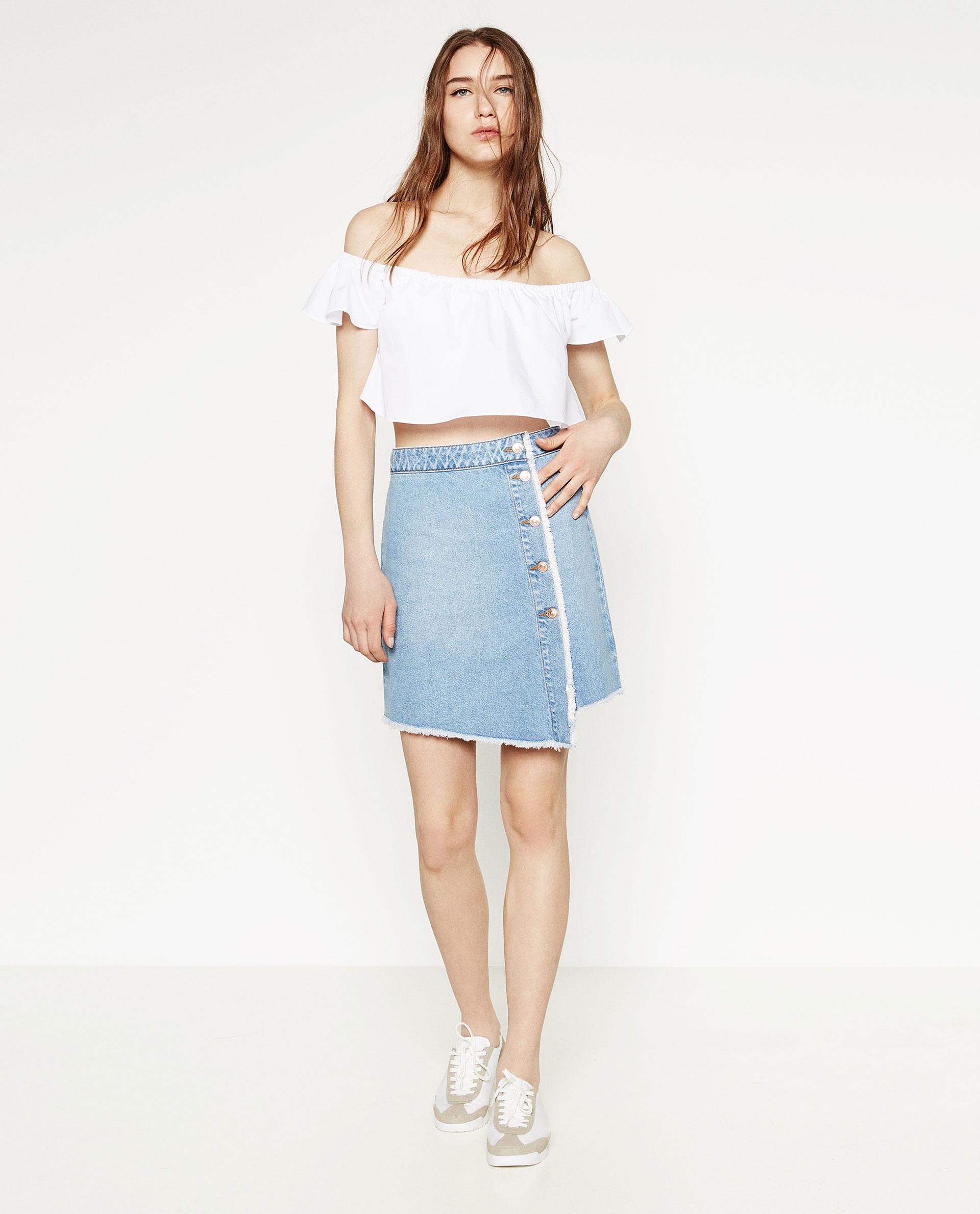 zara a line skirt in blue lyst