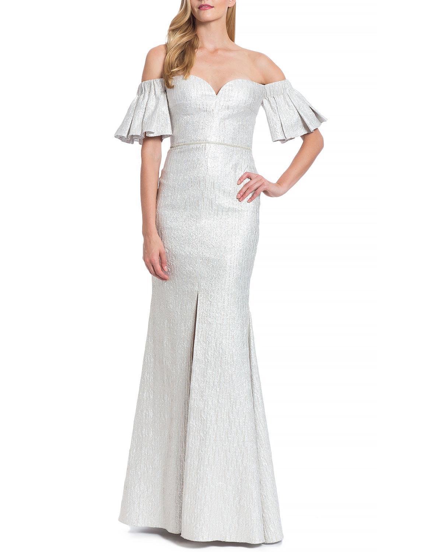 Badgley mischka Pleated Sleeve Evening Gown in Metallic