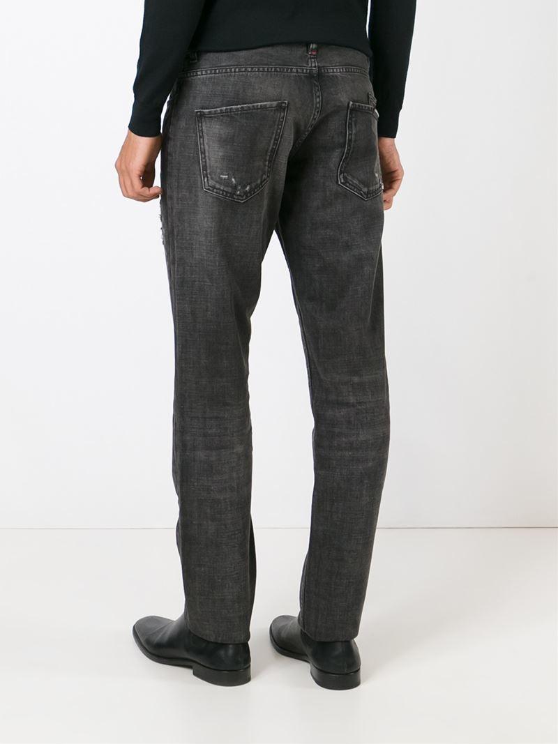 philipp plein 39 dallas 39 straight leg jeans in gray for men. Black Bedroom Furniture Sets. Home Design Ideas