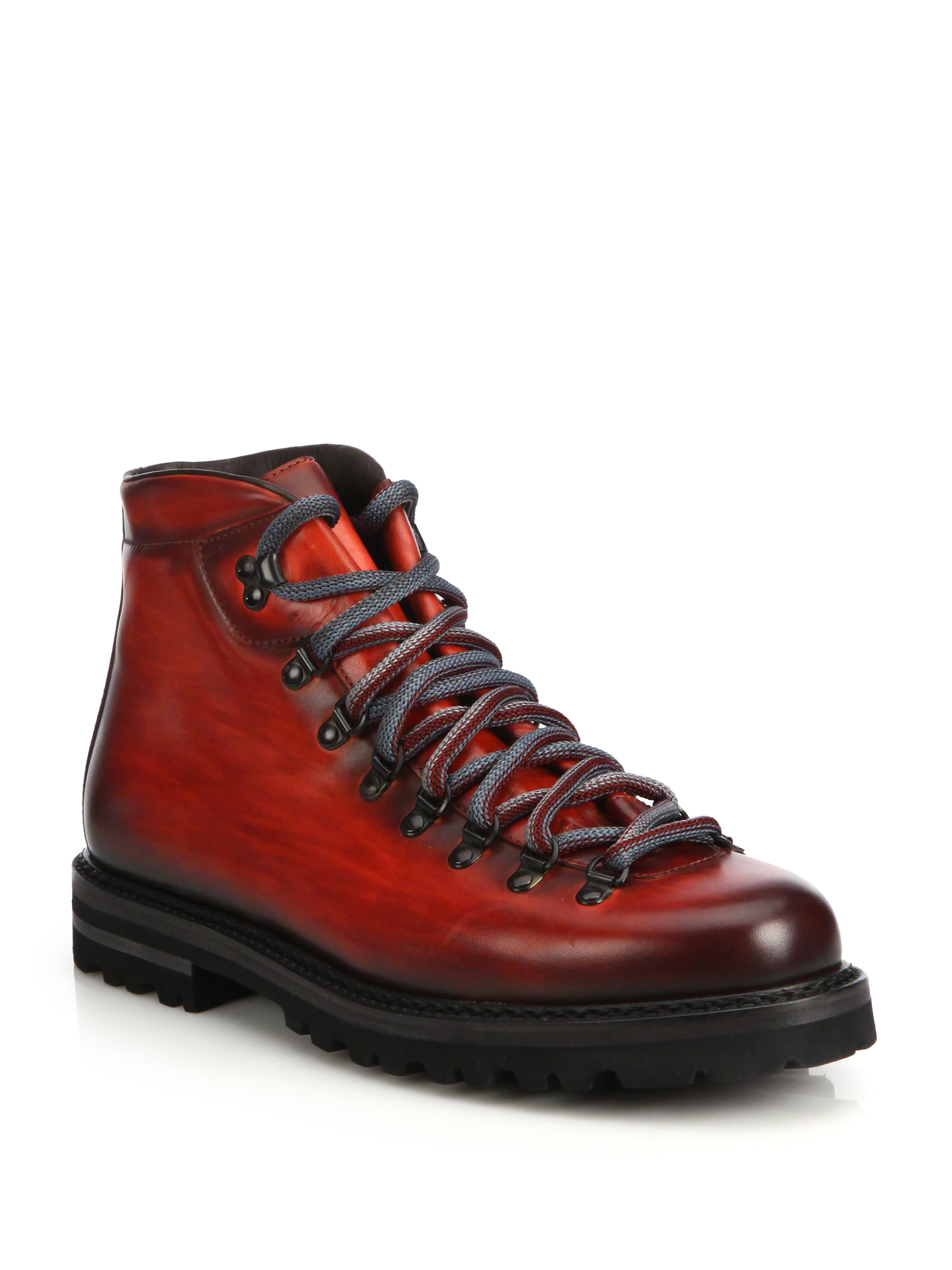 Saks Fifth Avenue Antiqued Leather Ankle Boots In Red For