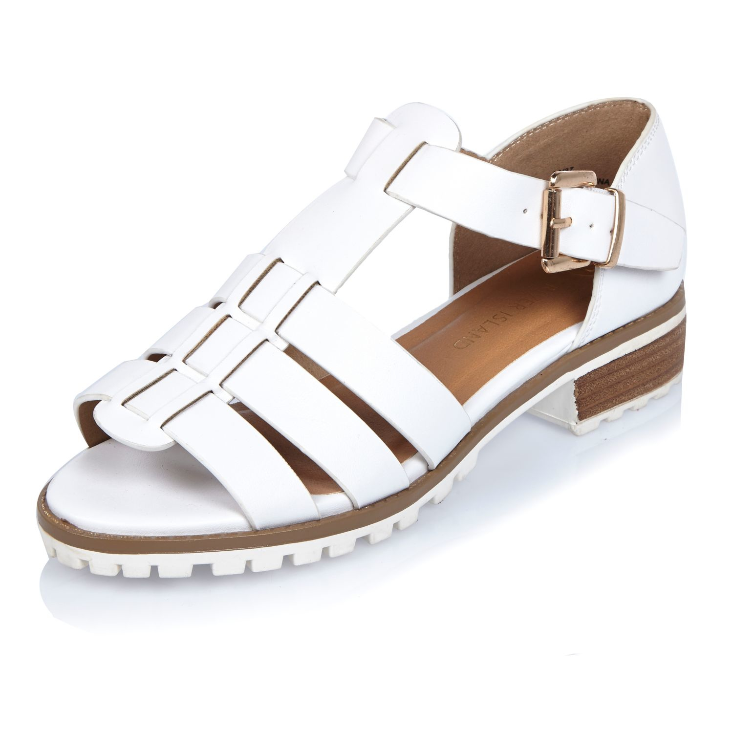 c8522f082e3 Lyst - River Island White Strappy Open Toe Geek Shoes in White
