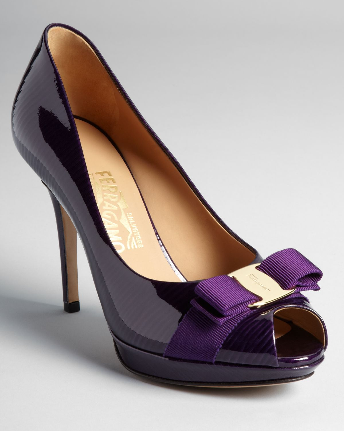Ferragamo Pumps Talia High Heel Peep Toe Platform in Purple | Lyst
