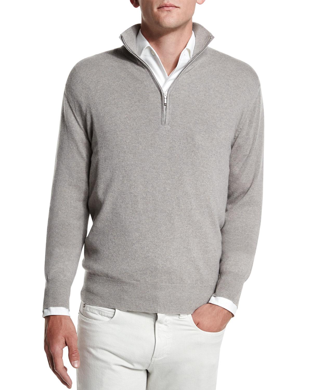 3141c2886bde Loro Piana Baby Cashmere Mezzocollo Half-zip Sweater in Natural for ...