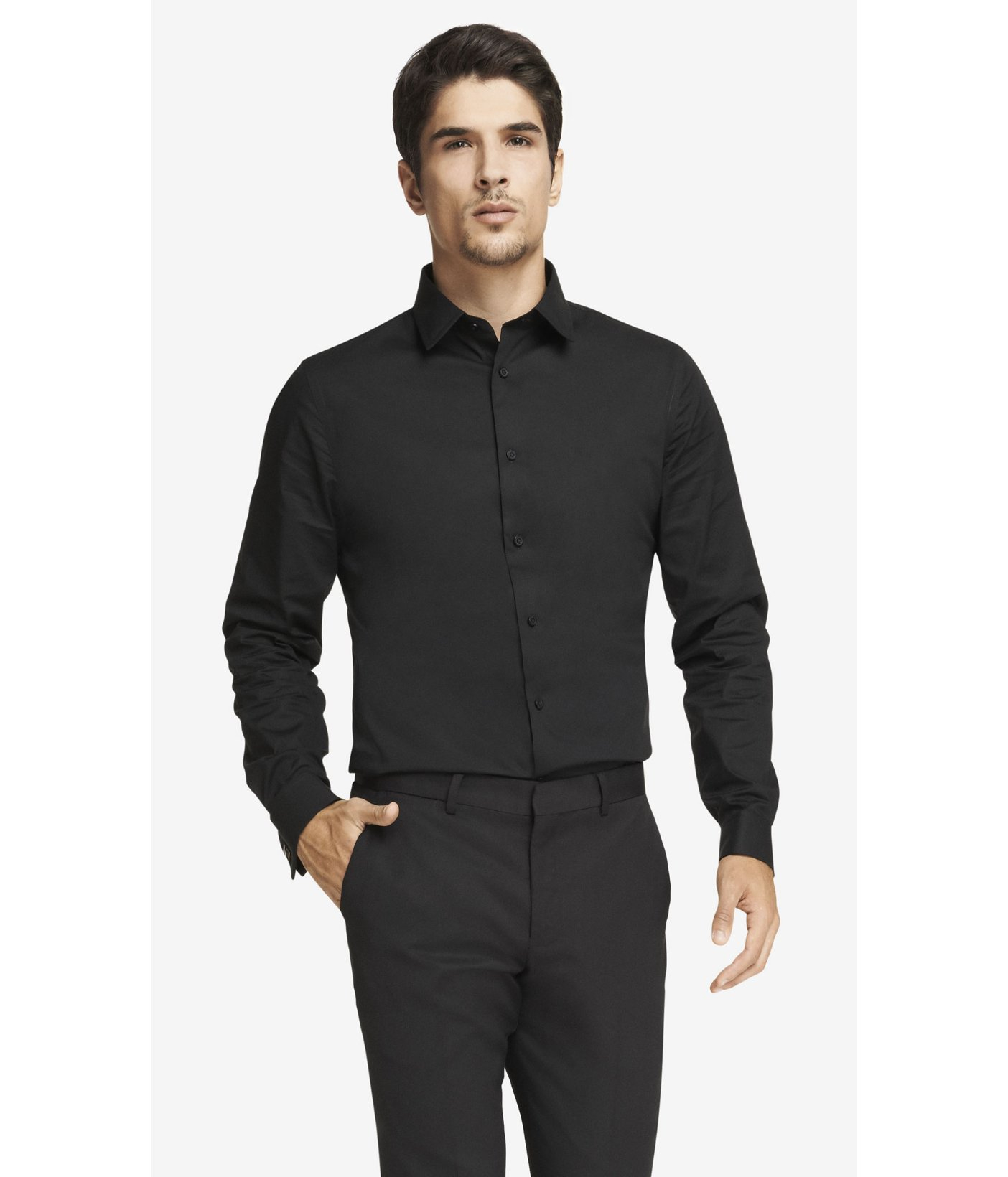 Express Fitted French Cuff 1mx Shirt In Black For Men Lyst