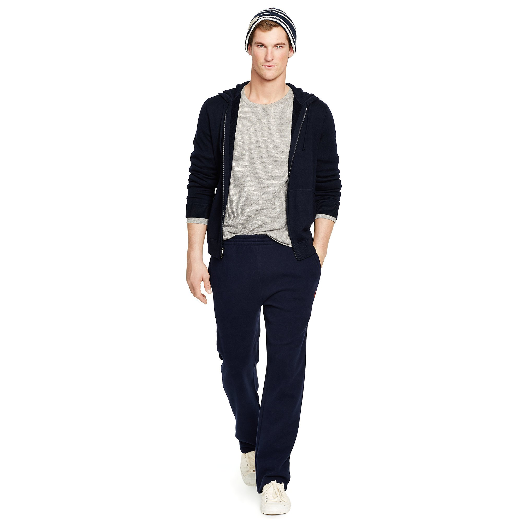 polo ralph lauren merino wool full zip hoodie in blue for. Black Bedroom Furniture Sets. Home Design Ideas