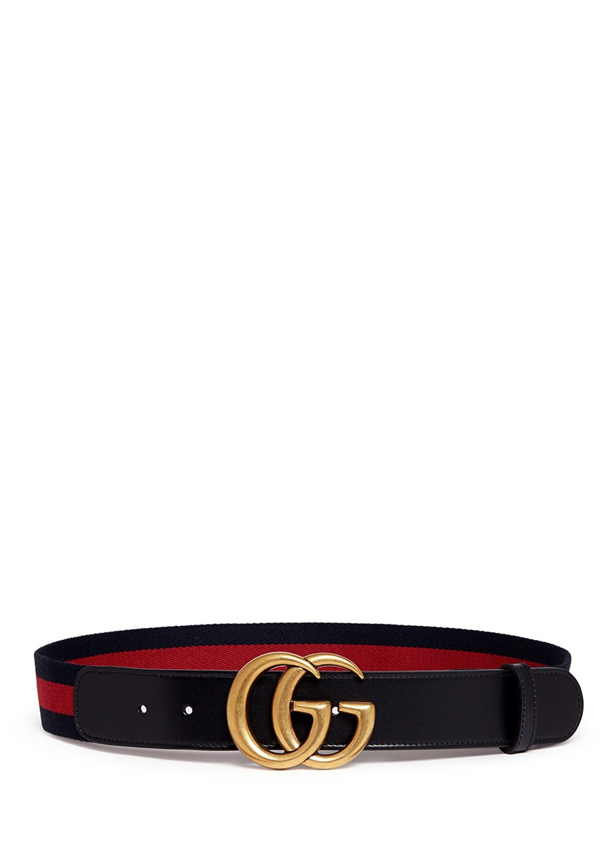 a58ed486af3 Gucci Gg Logo Buckle Leather Canvas Web Belt in Red - Lyst