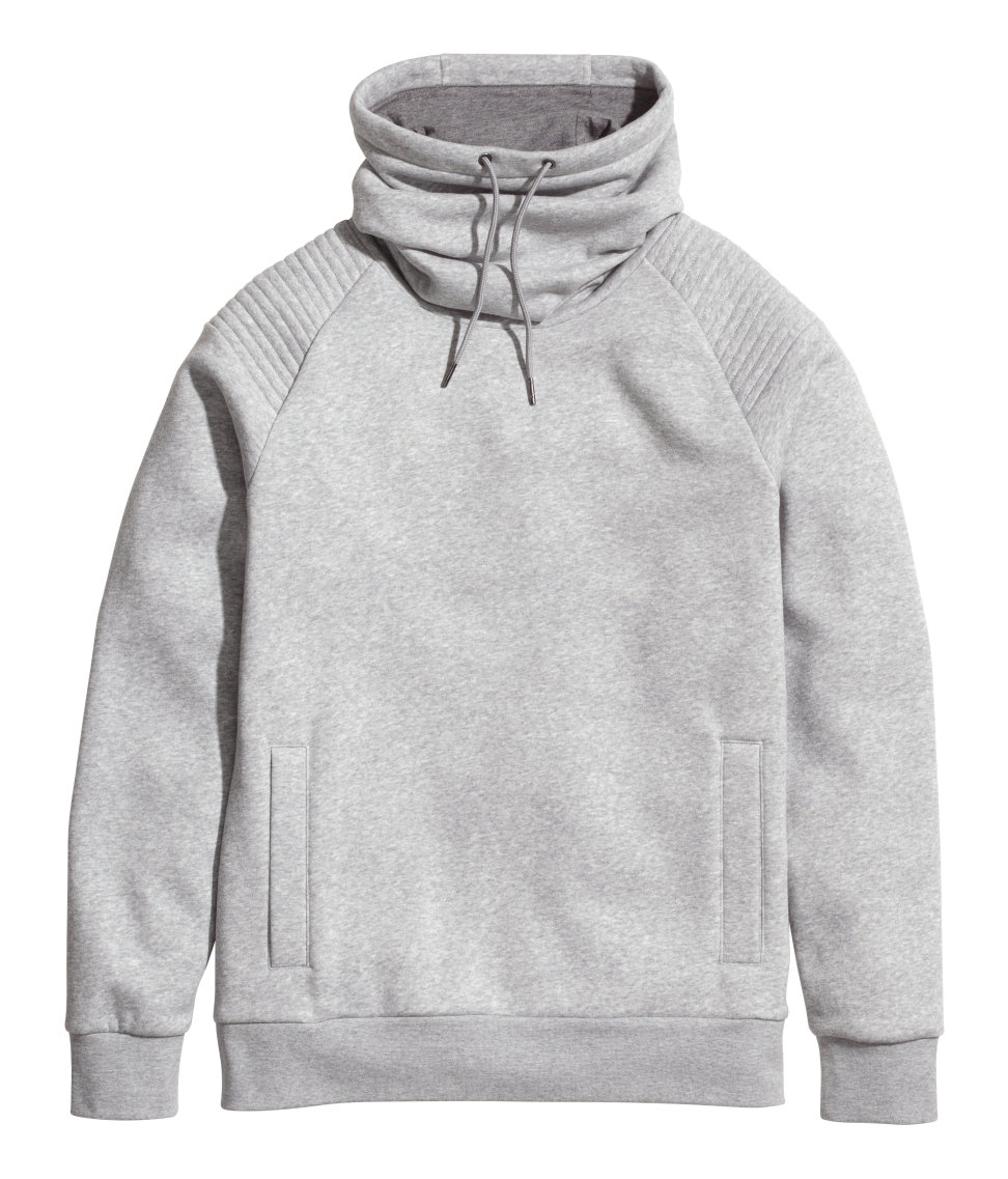 Lyst H Amp M Sweatshirt With Funnel Collar In Gray For Men